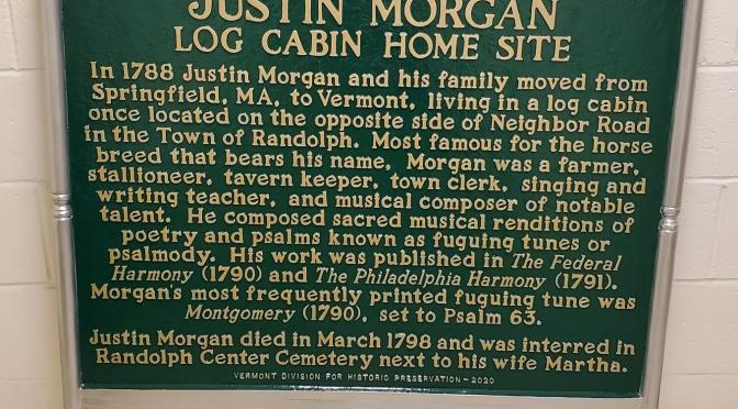 Justin Morgan Historical Marker.